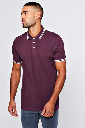 boohoo BM Embroidered Pique Polo With Tipping