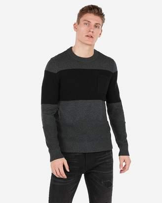 Express Mixed Striped Stitch Pocket Crew Neck Sweater