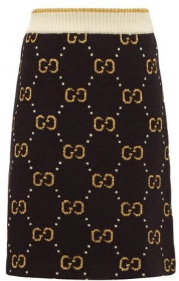Gucci Gg Jacquard Wool Blend Mini Skirt - Womens - Black Multi