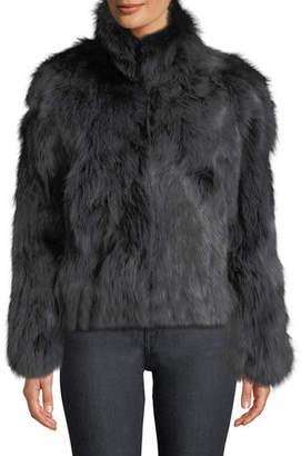 Adrienne Landau Stand-Collar Fox Fur Jacket