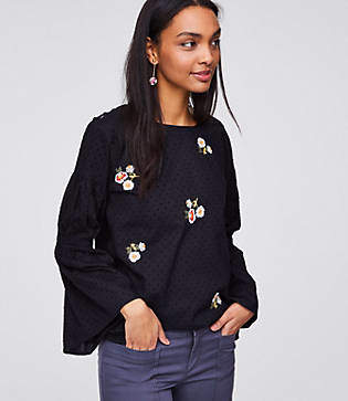 LOFT Floral Embroidered Bell Sleeve Blouse