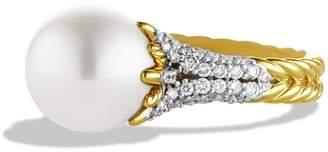 David Yurman 'Starburst' Pearl Ring with Diamonds in Gold
