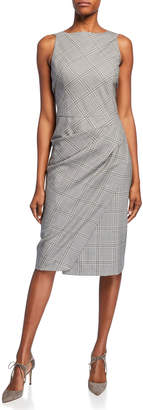 Narciso Rodriguez Ruched Plaid Suiting Dress