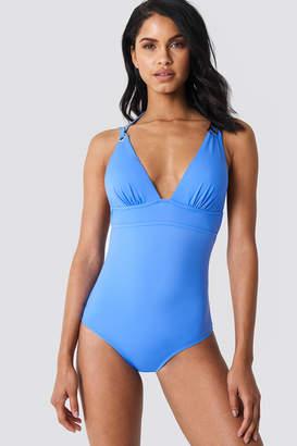 Trendyol Deep Back Double Strap Swimsuit Blue