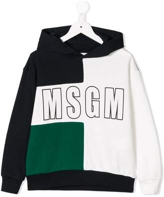 MSGM colour block logo hoodie