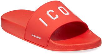 DSQUARED2 Men's Logo Rubber Slide Sandal, Red/White