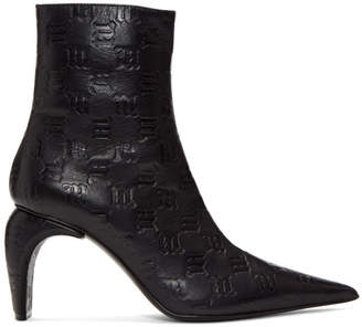 Misbhv Black Monogram Embossed Ankle Boots