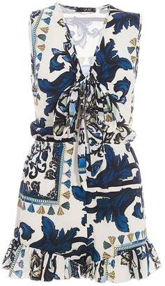 Quiz Blue And White Crepe Scarf Print Playsuit