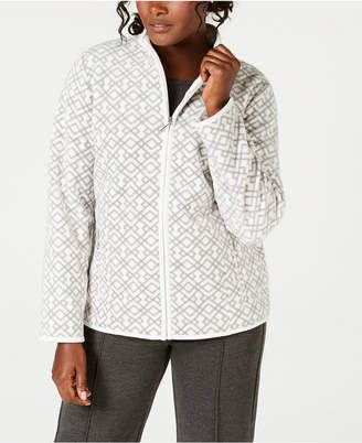 Karen Scott Casual Lattice-Print Zip-Front Jacket