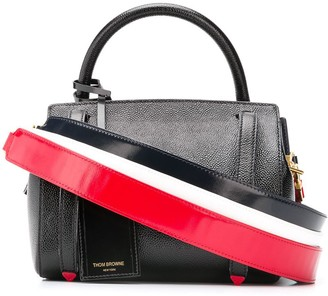 Thom Browne 3-Strap Small Pebble Leather Bag