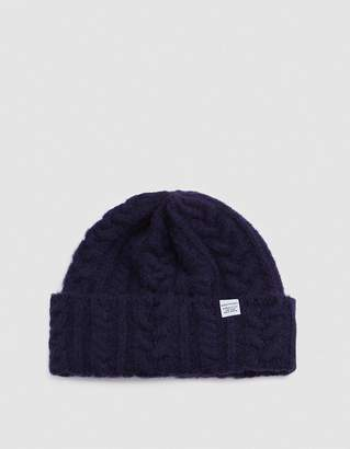 Norse Projects Norse Cable Beanie in Navy