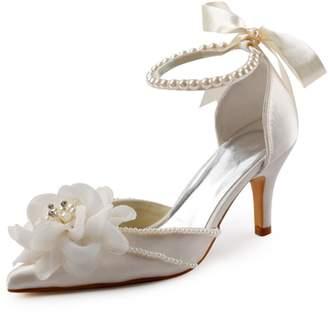 ElegantPark EP11052 Women Pointed Toe Prom Flower Pearls Strap Satin High Heels Wedding Shoes US 7