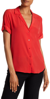 Equipment Short Sleeve Solid Silk Blouse $198 thestylecure.com