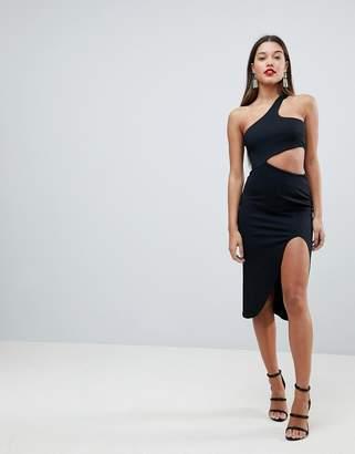 Asos DESIGN One Shoulder Asymmetric Side Cut Out Midi Dress