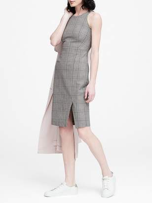 Banana Republic Plaid Bi-Stretch Racer-Neck Sheath Dress