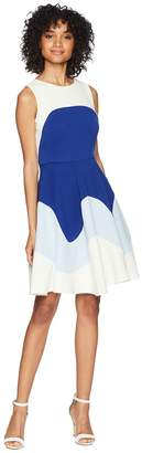Taylor Color Block Textured Fit and Flare Dress Women's Dress