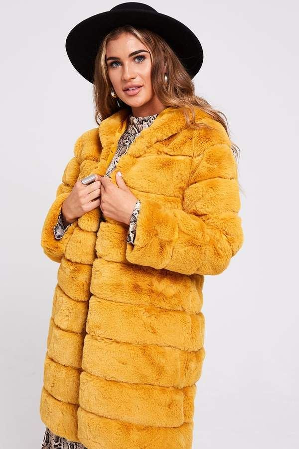 Bosa Mustard Fur Coat With Hood