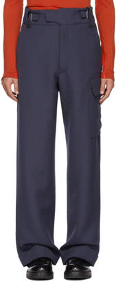 MACKINTOSH 0003 Navy Wool Waisted Trousers