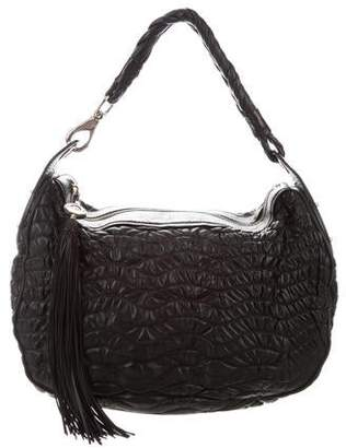 Versace Perforated & Ruched Leather Hobo