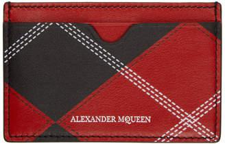 Alexander McQueen Red and Black Argyle Card Holder