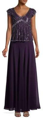 J Kara Capsleeve Beaded Embellished Gown