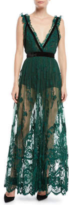 Elie Saab Plunging Sleeveless Lace Gown w/ Velvet Trim
