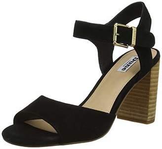 Dune Women's Isobela Ankle Strap Sandals, Black-Suede, 6 (39 EU)