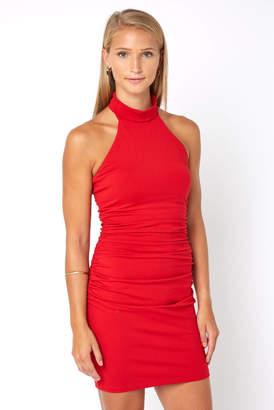 Susana Monaco Gathered High Neck Halter Dress