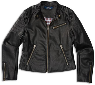 Ralph Lauren Childrenswear Girls' Faux Leather Moto Jacket - Sizes S-XL $150 thestylecure.com