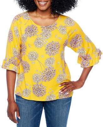 A.N.A Ruffle Sleeve Scoop Neck T-Shirt-Womens