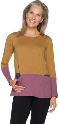 Logo By Lori Goldstein LOGO by Lori Goldstein Color-Blocked Cotton Slub Knit Top