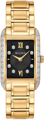 Bulova 34mm Rectangular Bracelet Watch w/ Diamond Bezel, Yellow Golden