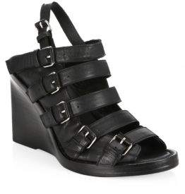 Ann Demeulemeester Buckle Wedge Leather Sandals