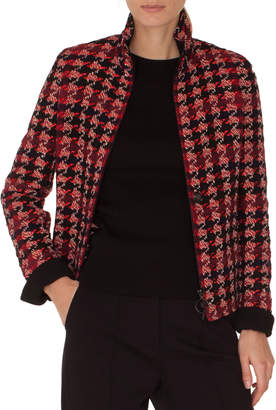 Akris Punto Stand-Collar Zip-Front Houndstooth Tweed Jacket