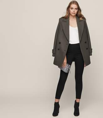 Reiss Hedy Black High-Rise Cropped Jeans