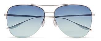 Barton Perreira Chevalier Aviator-Style Silver-Tone Titanium Sunglasses