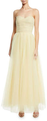 Monique Lhuillier Strapless Sweetheart Tulle Gown