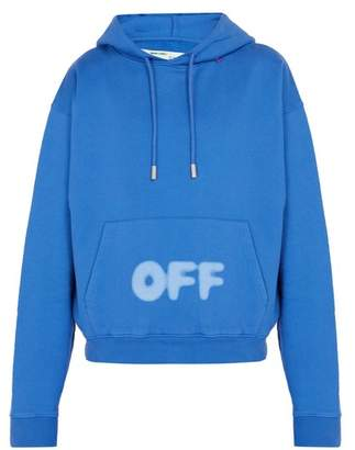 Off-White Off White Blurred Off Cotton Hooded Sweatshirt - Mens - Blue