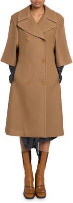 Chloé 3/4-Sleeve Wool-Silk Coat