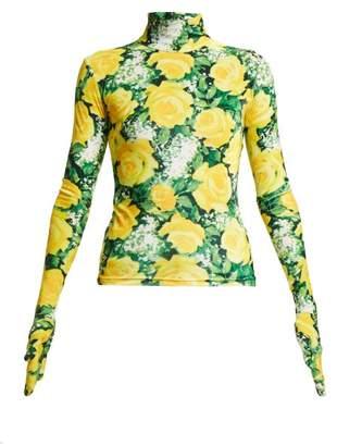 Richard Quinn - Rose Print High Neck Velvet Top - Womens - Yellow Print