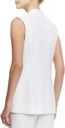 Peserico V-Neck Long Vest, White