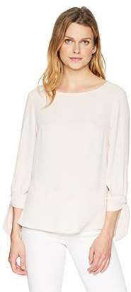 Nine West Women's Crepe Blouse with 3/4 Bow Sleeve Detail