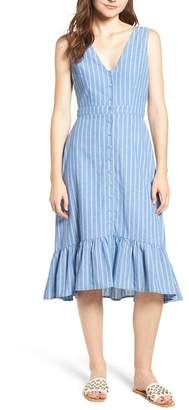 LOST + WANDER Dulce Stripe Ruffle Midi Dress