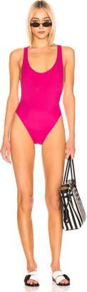 Off-White Off White Cross Body Swimsuit in Fuchsia   FWRD