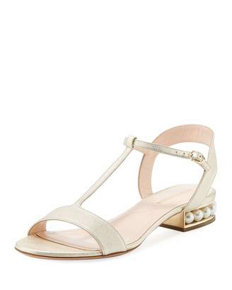 Nicholas Kirkwood Casati Metallic Leather T-Bar Sandal