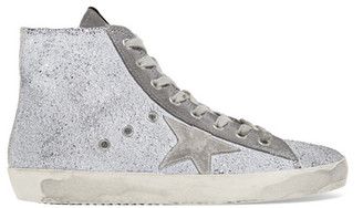 Golden Goose Deluxe Brand - Francy Distressed Glittered Suede High-top Sneakers - Lilac $495 thestylecure.com