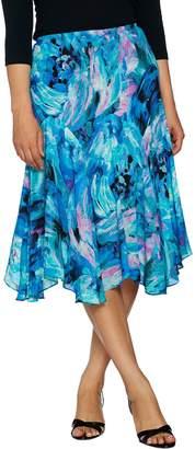 Bob Mackie Floral Print Pull-On Woven Skirt