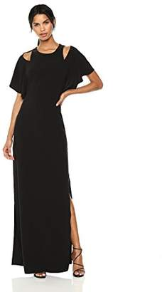 Halston Women's Flowy Sleeve Gown w Cut Outs