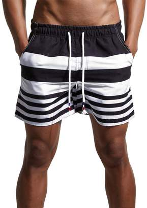 Trunks SHENGRUI Men's Stripe Swim Quick Dry Casual Swim Shorts 02 Tag Asia L