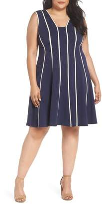 Gabby Skye Piping Detail Fit & Flare Dress